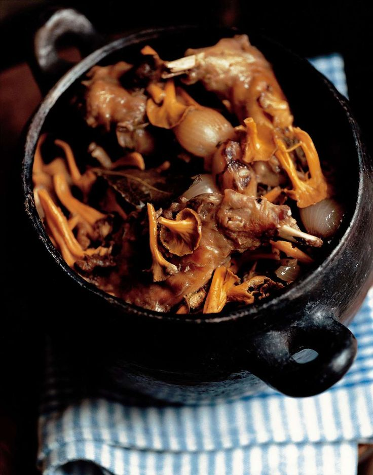 Rabbit casserole with winter chanterelles by Antonio Carluccio from Complete Mushroom Book | Cooked