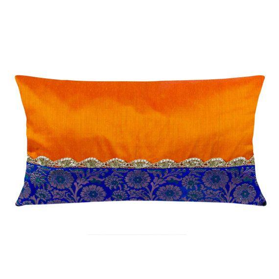Almohadilla Lumbar de seda del huevo planta púrpura y oro cubre - almohada de seda hecho a mano - fundas de almohada decorativa cubierta - sala Decor-