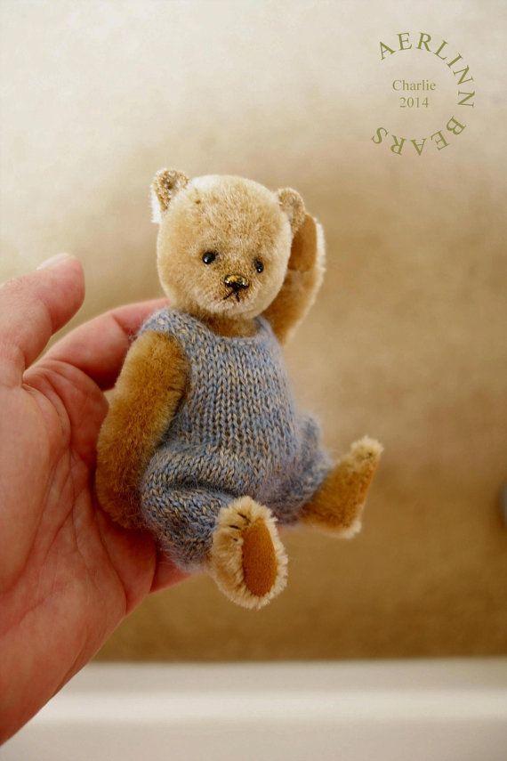 Charlie, Miniature Mohair Artist Teddy Bear by Aerlinn Bears