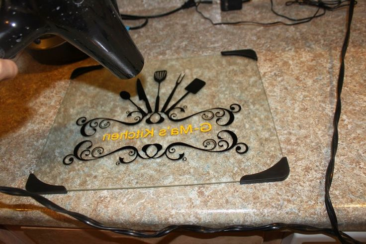 Learning 2 Be Crafty: Steps for vinyl on glass cutting board.