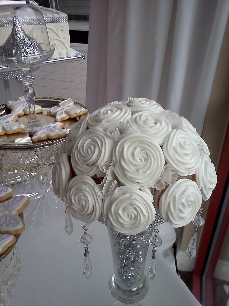 Mini cupcake topiary, white on white, silver and bling. By Leticia's Confections