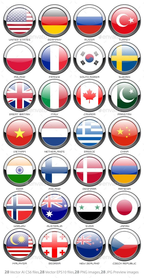 Flags Of The World By Ollomy Graphicriver Flags Of The World Country Flags Icons All World Flags