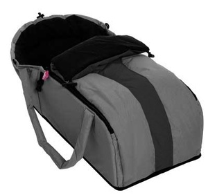 Phil & Teds Cocoon- essential for travel with new baby. Awesome for flying with babe. Put a carry on bag inside and it counts as one bag. Then take bag out and you have a bassinet for babe to sleep in at airport and on flight.