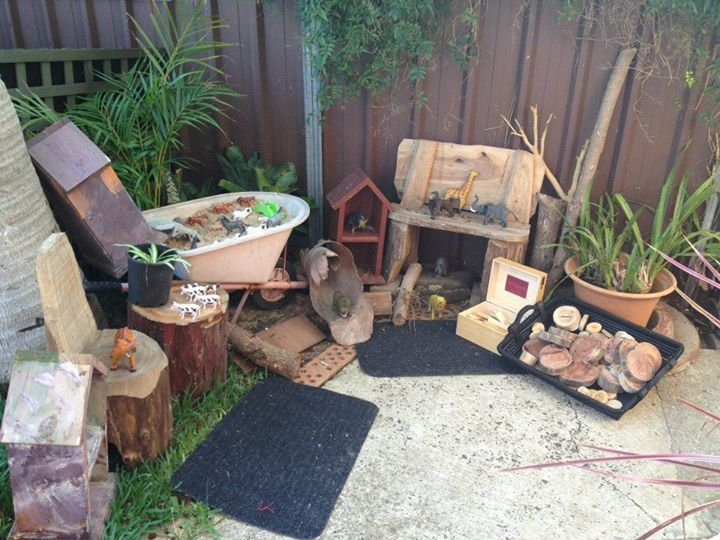 """Gorgeous little area outdoors at Puzzles Family Day Care to explore natural materials & small world ("""",)"""