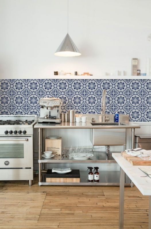 Blue And White Kitchen Backsplash Tiles #14: These Removable Large-scale Sheets Look Like Beautiful Moroccan Tiles. The  Blue-and-white Pattern Adds A Welcome Splash Of Color In A Kitchen.