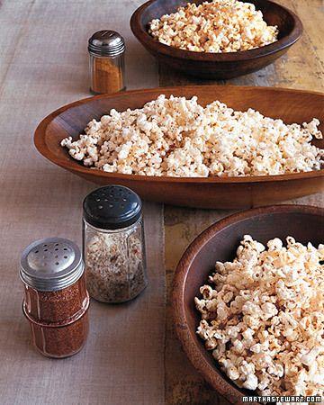 Popcorn Seasoning recipes - Curry Popcorn, Southwest Popcorn, Italian Popcorn, and Cajun Popcorn - Martha Stewart