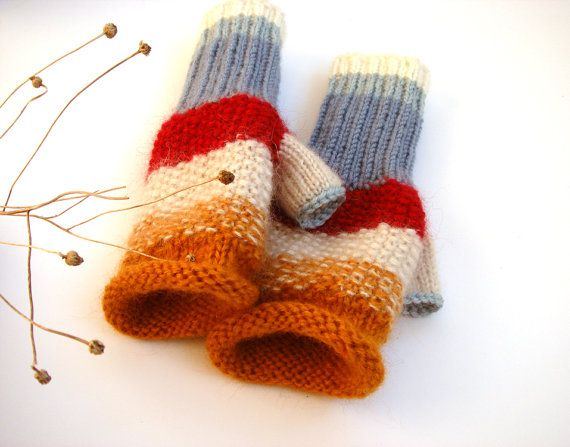 Knit fingerless gloves women fingerless gloves by RainbowMittens, $39.00
