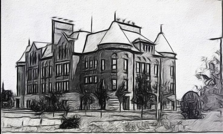 New Castle, Indiana, High School!  A digital artwork by Dan Newburn from a photo found on the Internet.
