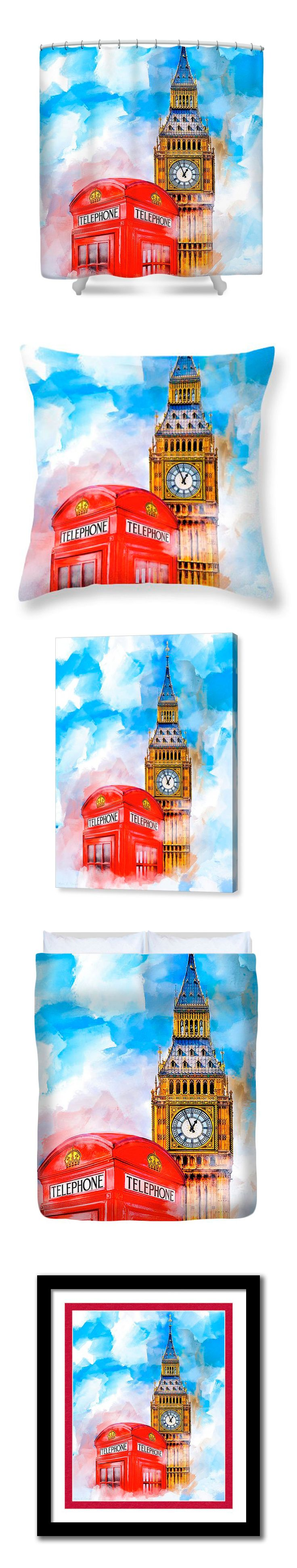 Dreamy London artwork featuring the iconic landmark of Big Ben and a classic Red Telephone Box.