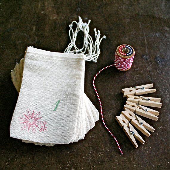 Advent-Kalender-Kit.  Musselin gefallen von CraftyClementines
