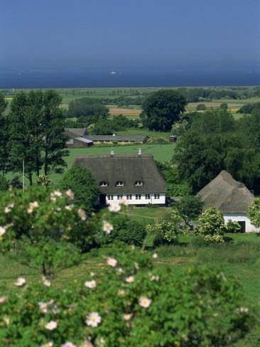 Thatched Cottages and Farmland, Aero Island, Denmark, Scandinavia    by Woolfitt Adam
