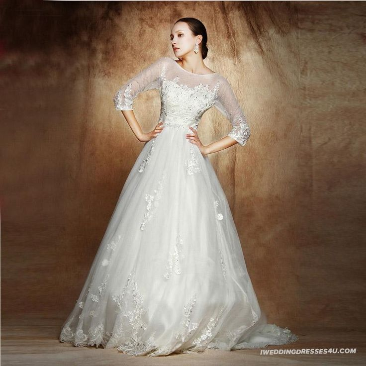 The New Arrival Long Sleeve Lace Spaghetti Straps Sweet Big Size Empire Waist Chapel Train Wedding Gown IWD0002_0