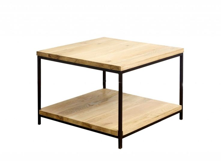 Brushed oak side table with metal frame