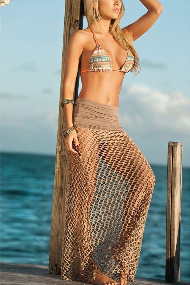 Aliexpress.com: Compre Vestidos de verão Beachwear Tan arrastão praia saia LC41100 roupas femininas novo 2015 vestido praia trajes de banho swimwear monokini de confiança saia rosa fornecedores em Dear-lover Sexy Dresses