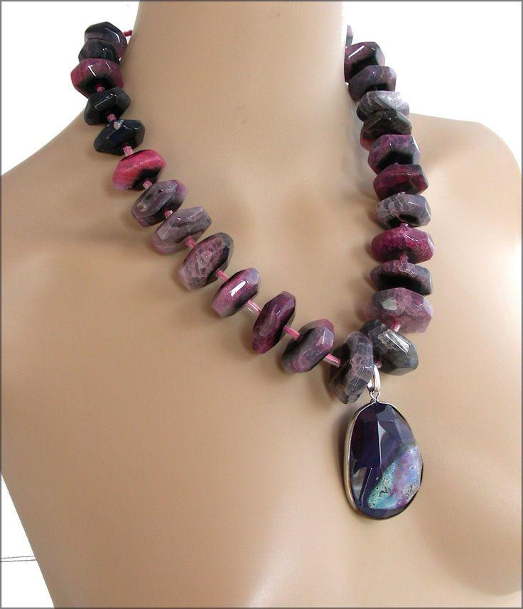 Collier Pierres de gemmes Noir/Rose/Violet/Turquoise - Agate / Collier sautoir femme, pierres fines noires/roses : Collier par ladyplazza