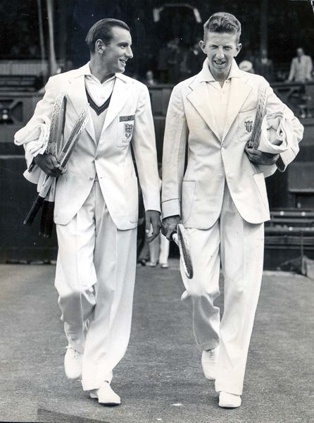 Fred Perry and Don Budge at Wimbledon.