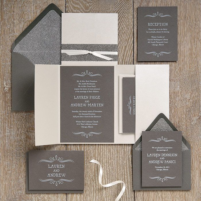 Vintage Marquis Slate Wedding Invitation Suite