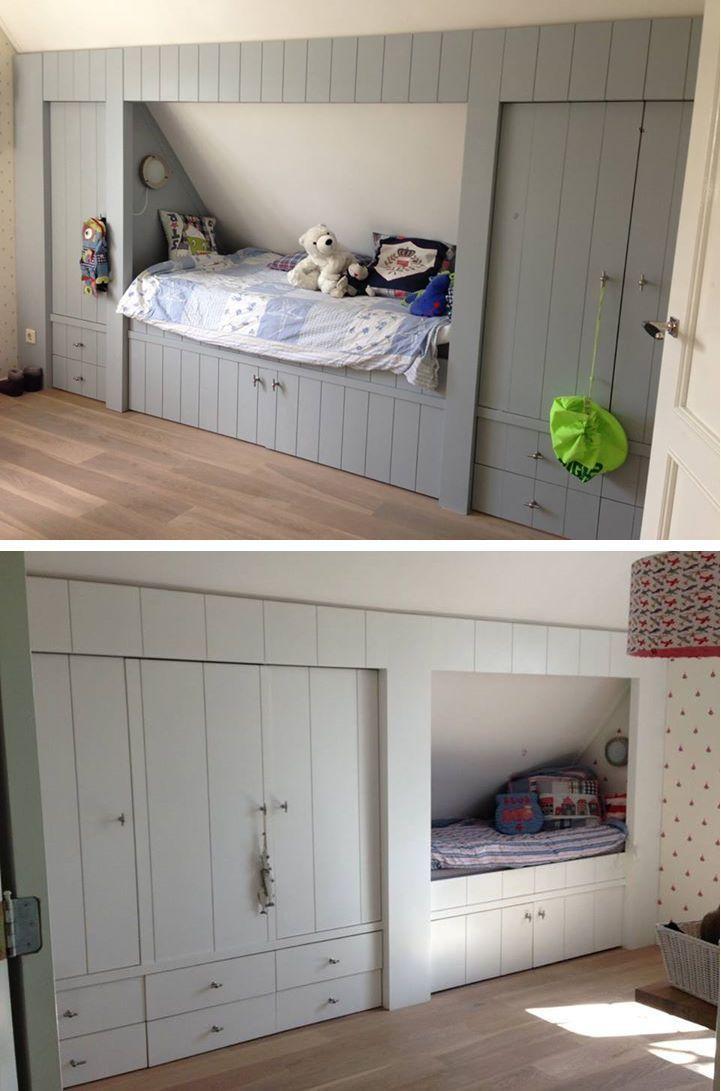 Idee für ein eingebautes Bett im vorderen Loft-Schlafzimmer, um den Bereich mit reduzierter Kopfhöhe zu nutzen. – Jo Jo – #Bereich #Bett #Schlafzimmer #Gebäude #Front