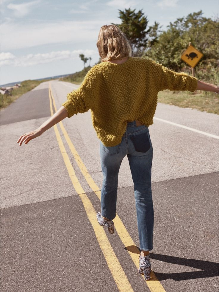 madewell popstitch sweater worn with the cruiser straight jeans + printed nealy boot in velvet.