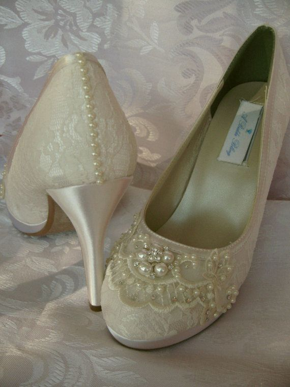 Wedding Shoes Ivory or White Bridal Shoes with Lace and Pearls and Swarovski Crystals