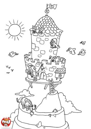 32 best images about ridders kleurplaten on pinterest mike the knight knight shield and mandalas - Dessin chateau princesse ...