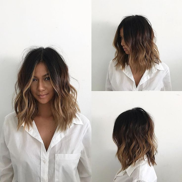 This Undone Voluminous Wavy Lob with Brunette Balayage and Soft Layers is a great cut for …