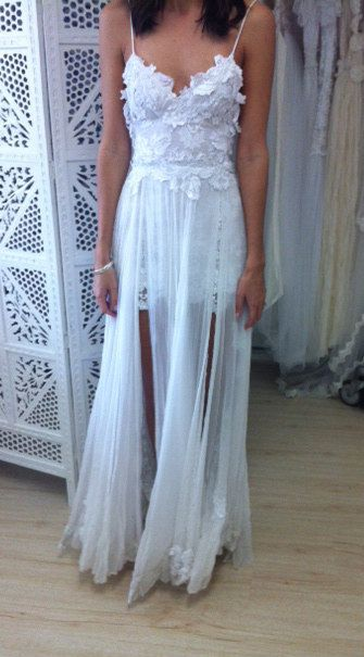 Stunning low back white lace wedding dress by Graceloveslace