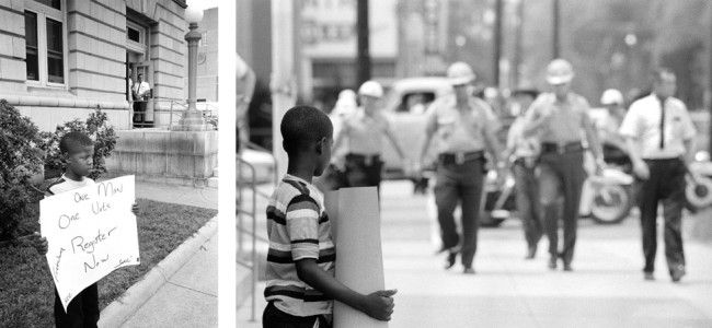 Photos: A brave young boy demonstrates for freedom in front of the Dallas County courthouse in Selma on July 8, 1964. Selma sheriff deputies approach and arrest him. Photos used by permission of Matt Herron/Take Stock Photos.