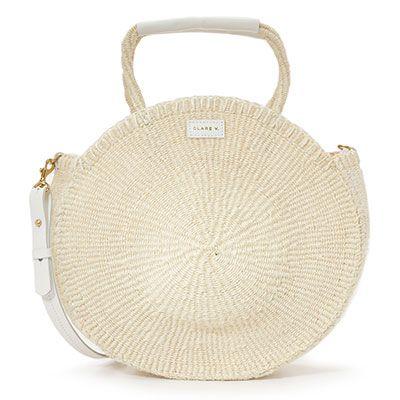 Clare V. Alice Tote - white straw bag, white round straw bag, white round bag…