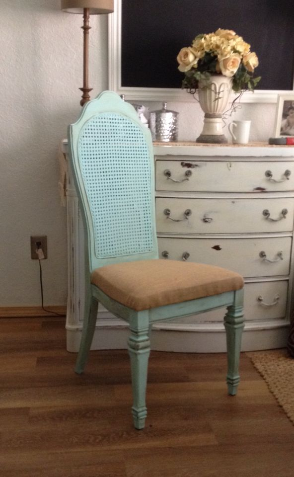 Refinished Old Cane Back Dining Chairs With Chalk Paint