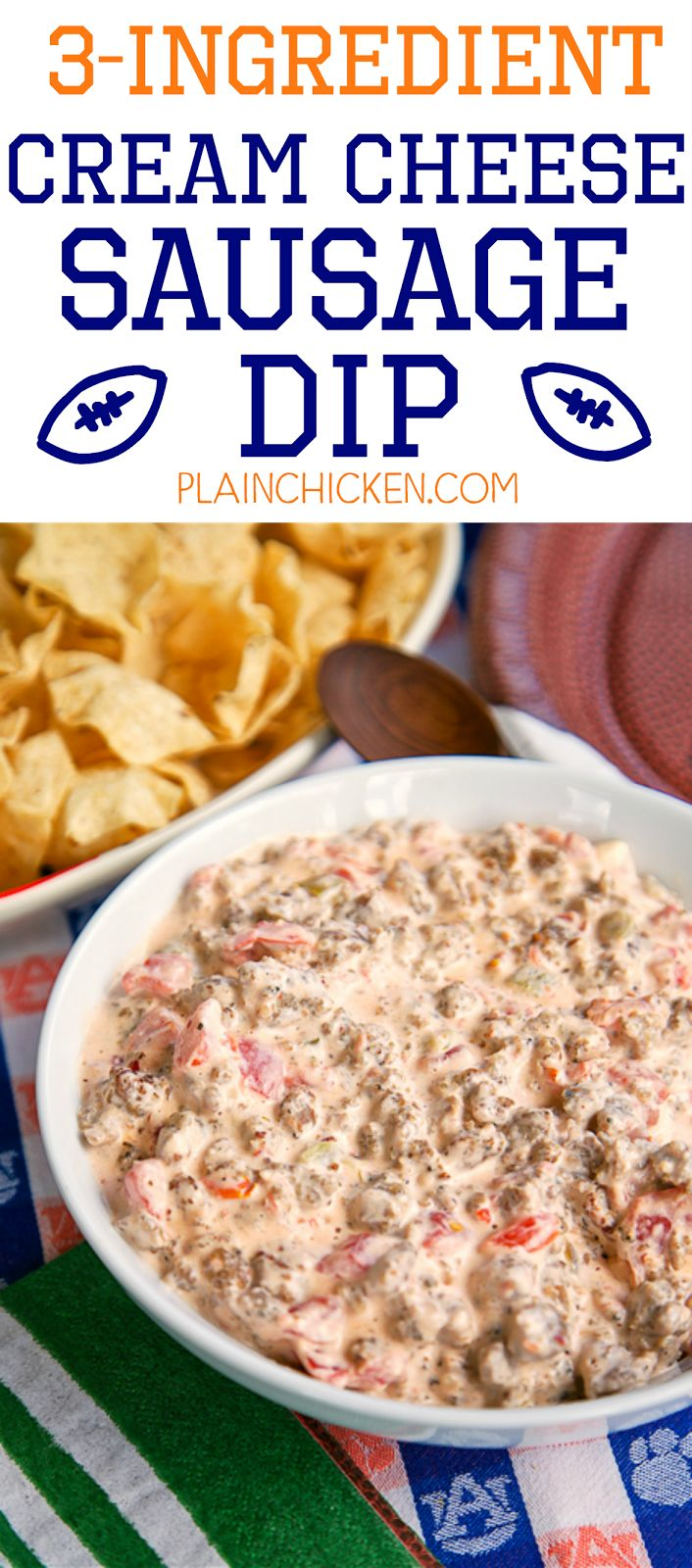 3-Ingredient Cream Cheese Sausage Dip - SOOOO good! Sausage, cream cheese, and Rotel. Ready in under 10 minutes!