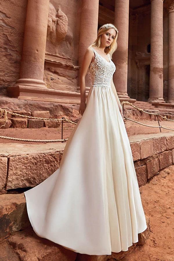 461ced02c5 Elegant Straps Lace Top Satin Beach Wedding Dresses, Bridal Gown #wedding # weddingdresses #bridal #angrila #elegant