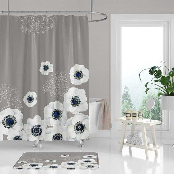 Beige Shower Curtain Bath Mat Blue White Floral Shower Etsy