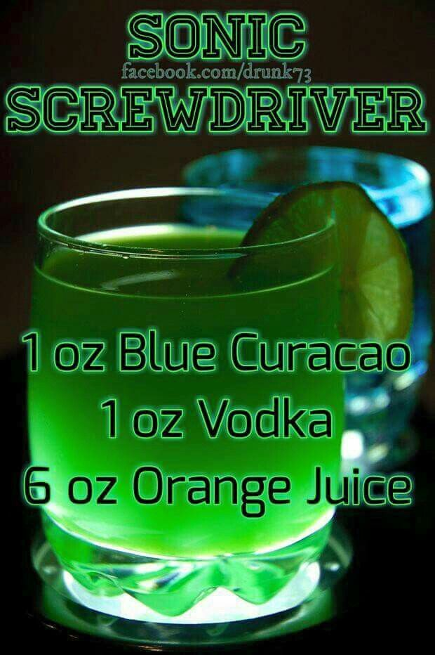 Sonic Screwdriver drink recipe