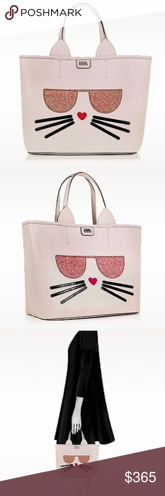 """KARL LAGERFELD K/Kocktail Choupette Shopper K/Kocktail Choupette Shopper w/Glitter crafted in vegan leather with applique detail, lets you join in on the exclusive Kapsule party with this fun take everywhere tote that has ample room for a bottle of bubbles. Featuring top zip closure, double flat handles, Choupette with glitter glasses applique, detachable inner zip pouch and silver tone hardware detail. Signature dust bag included Width12.60"""" Height11.42""""  Depth6.69""""  HandlesDouble…"""