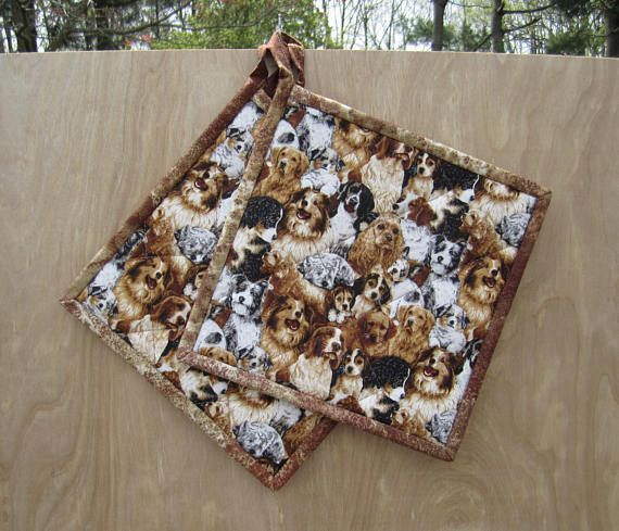 Quilted Potholders Favorite Dogs Set of 2 Quiltsy