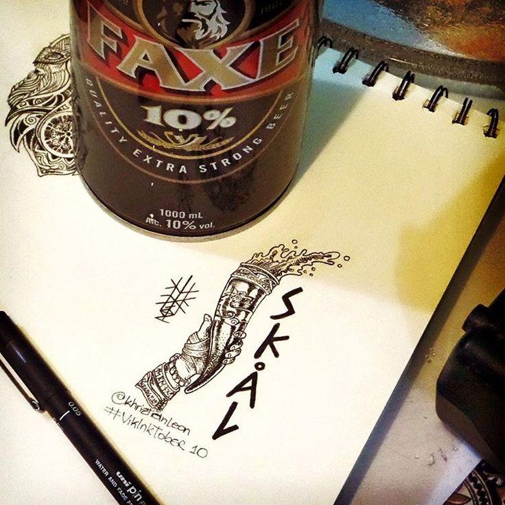 The inspiration coming in a good #beer! #Skål to the gods !! #VikInkTober 10  **A inspiração vindo de uma boa #cerveja: #SKÓL aos deuses!   #Inktober 10  #inktober2go #ink #illustration #art #artwork #lineart #dotwork #pontilismo #faxe #faxebeer #norse #viking #drinklikeviking #monday #segundafeira #arte #ilustração #drinkinghorn #vikinghorn #horn #runes #wolf #RaiseYourHorn
