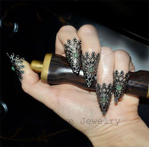 Claws Jade Dragon Nails Fierce Filigree Jeweled Claw Nail Armor - $28.00 from Etsy.
