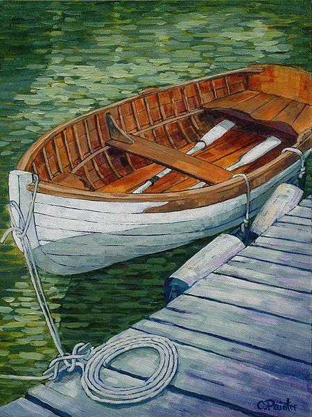 """Calmly Waiting"" by Cheryl Painter. #art #painting #artwork #canvas #marine #marineart #boat #dock"