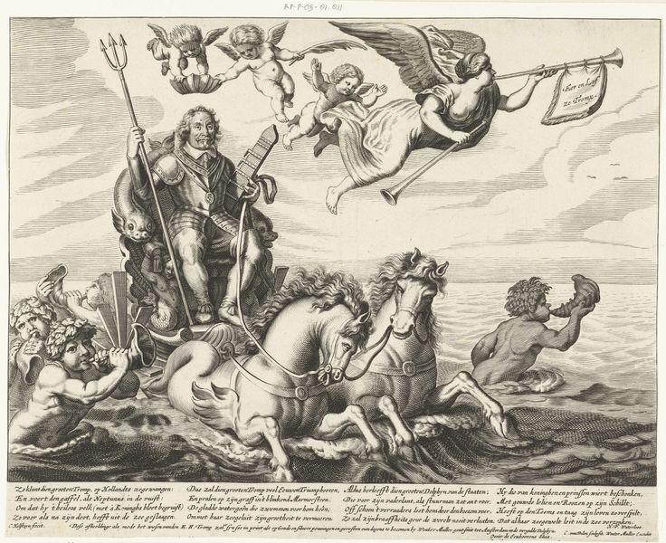 Cornelis van Dalen (I)   Zegewagen ter ere van Maarten Tromp, gesneuveld in de Zeeslag bij Terheide, 1653, Cornelis van Dalen (I), Wouter Muller, Herman Frederik Waterloos, 1653   Admiraal Maarten Tromp, gesneuveld in de zeeslag bij Terheide op 10 augustus 1653, rijdend in een zegewagen over zee getrokken door paarden en vergezeld door tritons. In zijn handen een drietand en een scheepsroer. In de lucht de Faam met twee bazuinen en drie engeltjes. Een engel kroont Tromp met een schepenkroon…
