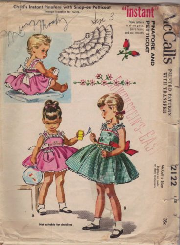 Vintage 1950s Girls Pinafore And Petticoat Dress McCall's Sewing Pattern 2122…