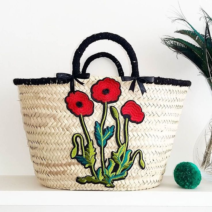 All sewn up!  This baby is ready to ship. Will list later today in my shop.  #strawbag #beach #beachbag #strawbasket #marketbasket #poppies #handmadegifts #handmadeuk #crafts #haberdashery #handmade #beachwear #boholife #bohofashion #instafashion #style #home #baskets