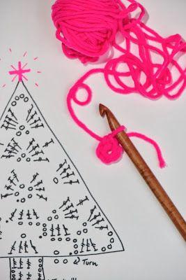 neon kerstboompjes haken - crochet neon christmastrees