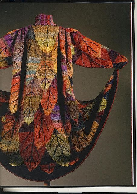 Kaffe Fassett's Long Leaf Coat from an early Rowan Magazine (#12). Magnificent! I wrap myself up at night in his Leaves blanket that's knit in the same richly colored pattern..