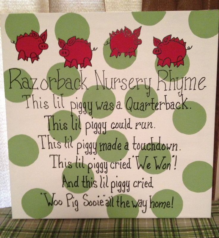 Razorback Nursery Rhyme canvas - soooo darn cute!