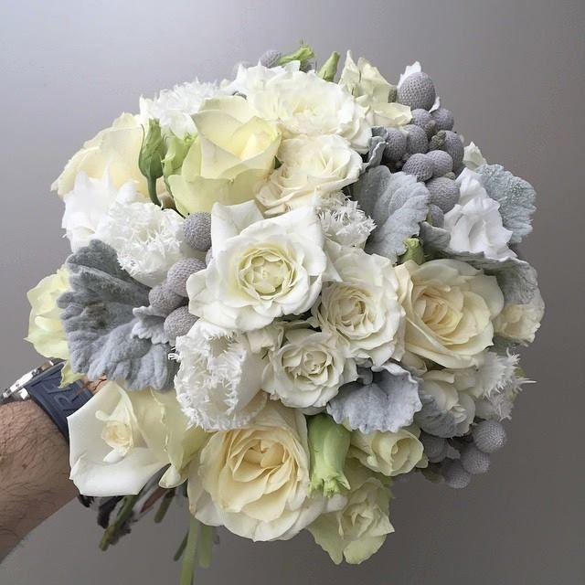 Brunia , tulips , sprayroses , roses , lisianthus , eustoma , wedding bouquet