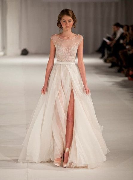 Fashion 2014 New Paolo Sebastian Wedding Dresses A Line Organza Split Front Backless Wedding Dress Applique Beading Bridal Gowns Wedding Dresses For Hire Wedding Dresses On Sale From Hjklp88, $111.06| Dhgate.Com