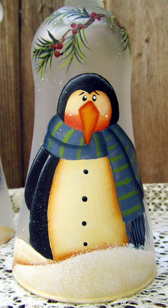 Penguin Glass Tealight Holder Hand Painted by PaintingByEileen