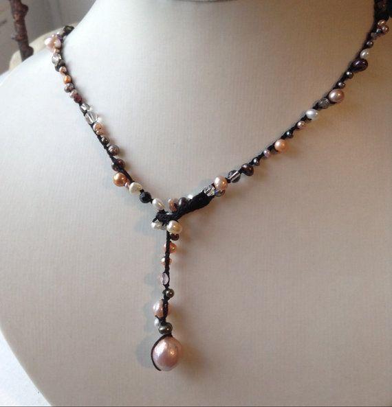 Kasumi Pearl Black haak Silk ketting of 3 X Wrap armband met Freshwater parels en Swarovski kristallen-zwart zijde koord ketting