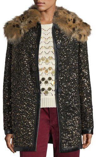 Marc Jacobs Hammered-Sequin Coat with Fur Collar